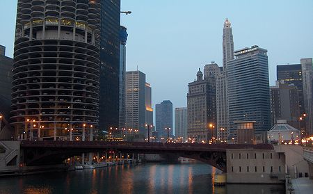 Chicago River at dusk