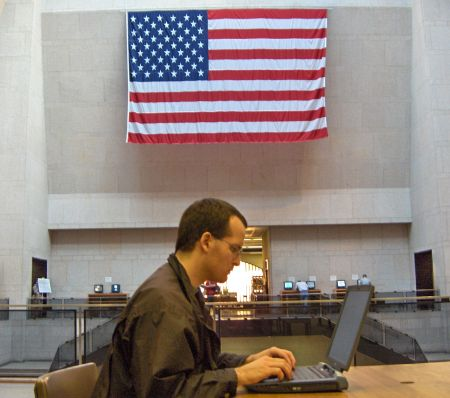 Photo: blogging within the Boston Public Library