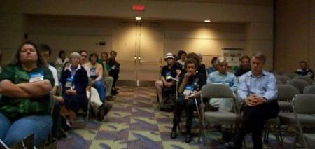 Moderator's view of a panel audience