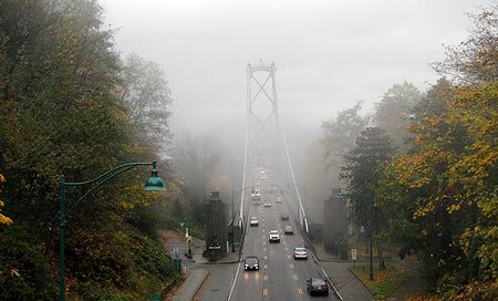 Lion's Gate Bridge Throught the Fog